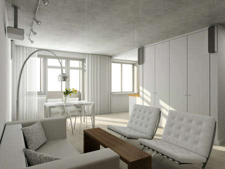 cottage: Interioir de la vida moderna-habitaci�n. 3D render Foto de archivo