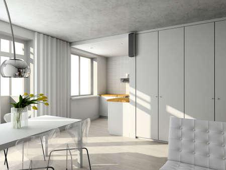 Inteir of modern living-room. 3d render Stock Photo - 5172392