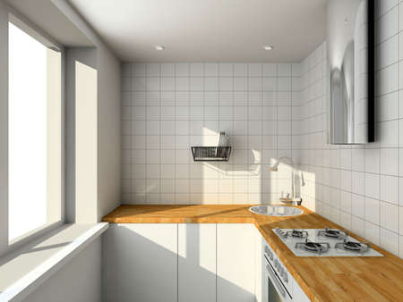 Interioir of modern kitchen. 3d render photo