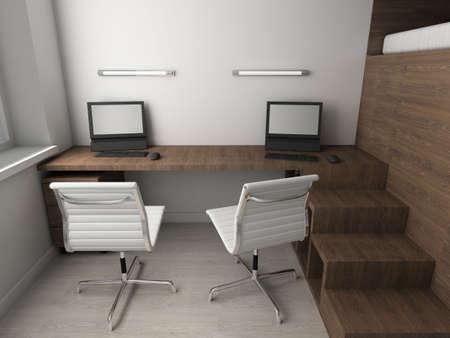 respectable: Interioir of modern cabinet. 3d render Stock Photo