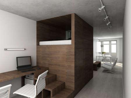 Interioir of modern appartment. 3d render photo