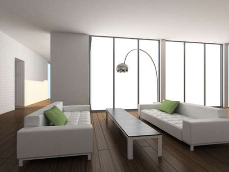 Modern design interior of living-room. 3D render photo