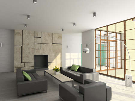 Modern design interior of living-room. 3D render Stock Photo - 5279837