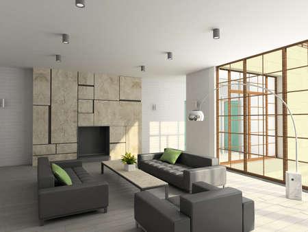 Modern design interior of living-room. 3D render Stock Photo - 5279837