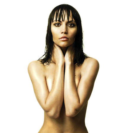 Fashion photo of young sexual woman with wet hair photo
