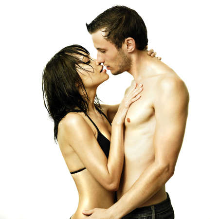nude woman posing: Fashion portrait of beautiful young lovers Stock Photo