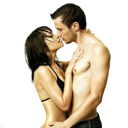 nudo maschile: Ritratto Fashion di belle giovani innamorati