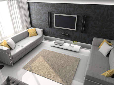 Interioir of modern living-room. 3d render Stock Photo - 5450489