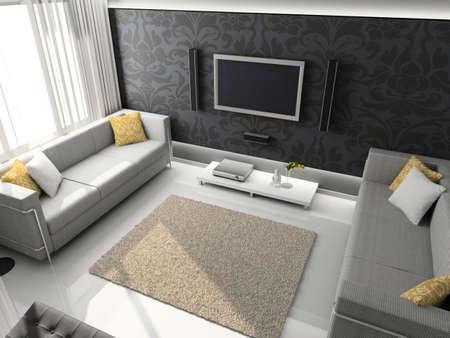 깔개: Interioir of modern living-room. 3d render