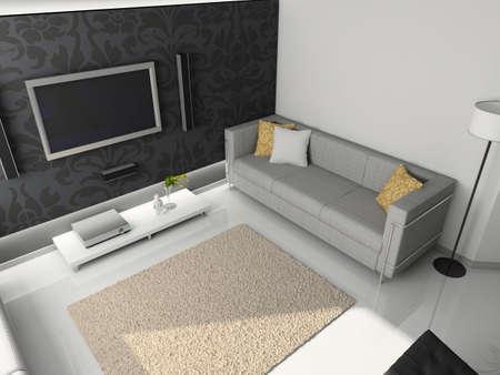 Interioir of modern living-room. 3d render Stock Photo - 5450487