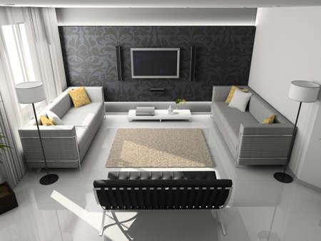 Interioir of modern living-room. 3d render Stock Photo - 5450485