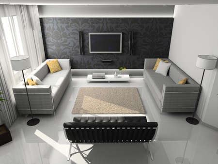 Interioir of modern living-room. 3d render Stock Photo - 5450485