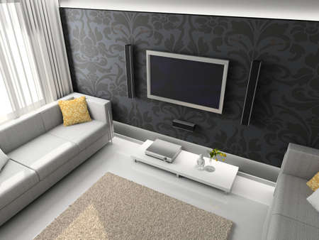 Interioir of modern living-room. 3d render Stock Photo - 5450488