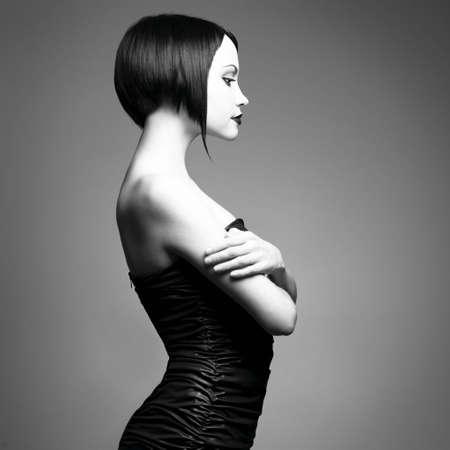 Black and white art photo. Elegant lady with stylish short hairstyle. Stock Photo - 6115902