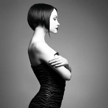 Black and white art photo. Elegant lady with stylish short hairstyle. Stock Photo - 6115902
