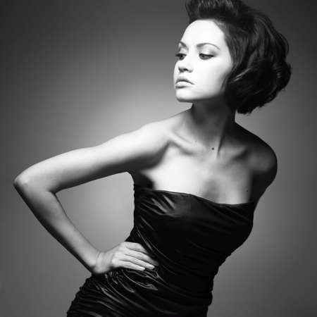 Black and white art. Elegant lady with stylish short hairstyle. Stock Photo - 6534040
