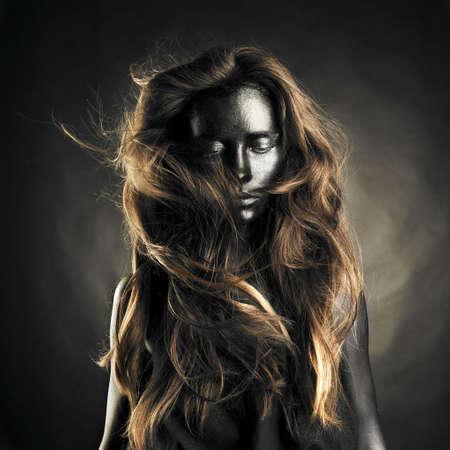Portrait of beautiful woman with black skin photo