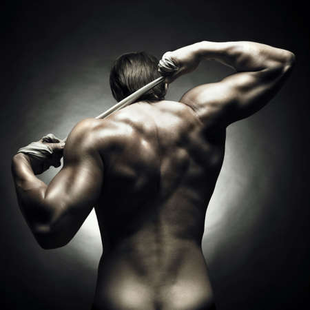 nude man: Photo of athlete with strong body