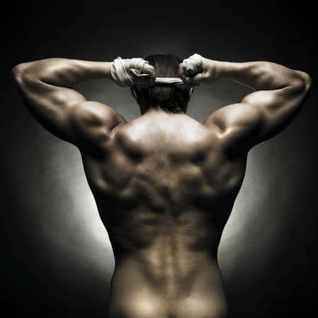 desnudo masculino: Poto de atleta desnudo con fuerte cuerpo  Foto de archivo