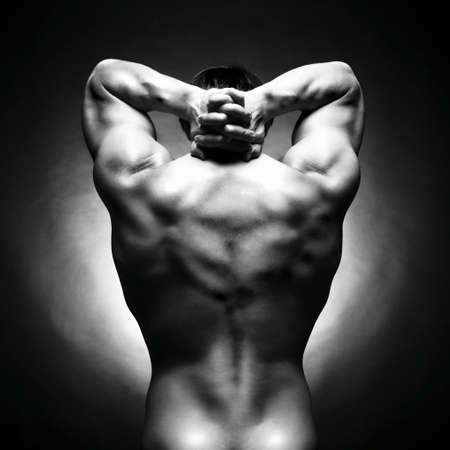 muscular male: athlete with strong body Stock Photo