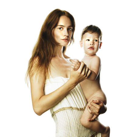 Photo of beautiful young mom with naked baby Stock Photo - 7706033