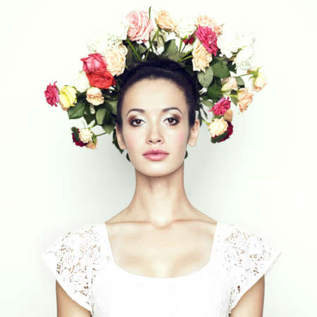 roseleaf: Girl with a head-bouquet of roses. Surreal portrait