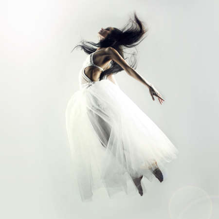 Picture a beautiful fairy flying girl in white dress photo