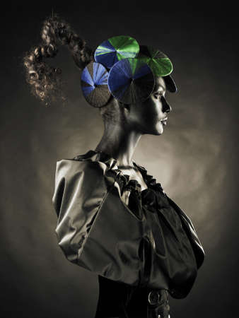 Portrait of a beautiful alien lady with an unusual hairstyle Stock Photo