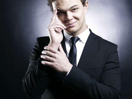 Portrait of handsome stylish man in elegant black suit Stock Photo - 8945577