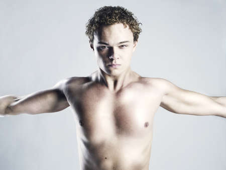 Photo of naked athlete with strong body photo