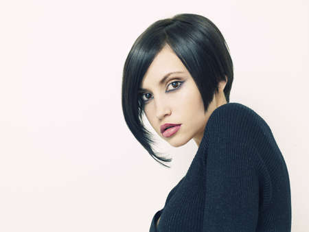 nude art model: Photo of young beautiful woman with short hairstyle Stock Photo