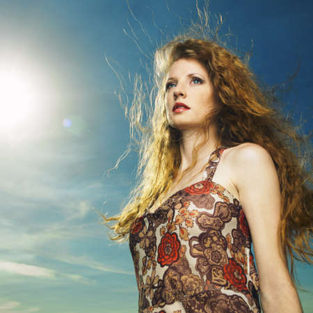 magnificent: Portrait of sensual woman with magnificent bushy hair Stock Photo