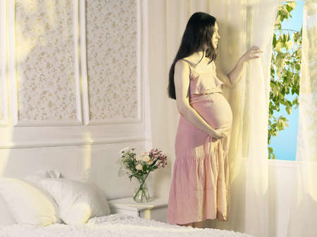 Portrait of a young pregnant woman at the window photo