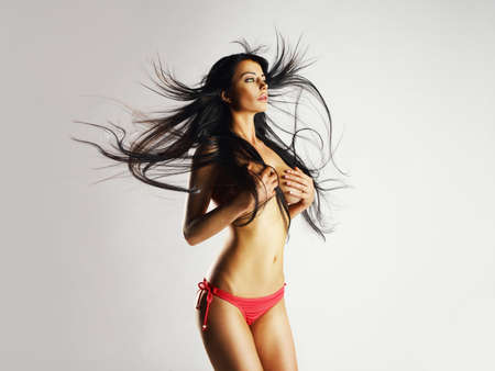Fashion beautiful nude woman with magnificent hair photo