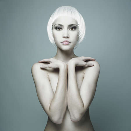 naked people:  futuristic nude woman with blond hair