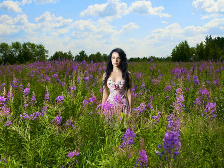 sexual background: Portrait of a beautiful lady in a flower meadow Stock Photo
