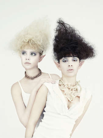 Stylish picture of two beautiful young girl elf photo