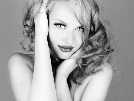 Black and white photo of young beautiful woman Stock Photo - 13024187