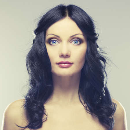 Photo of young beautiful woman with blue eyes 版權商用圖片