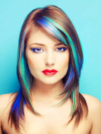 Photo of young lady with bright makeup on bright background Stock Photo