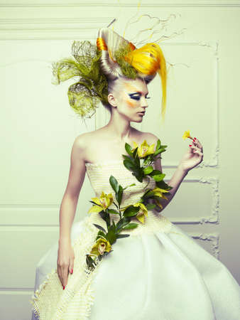 Lady with avant-garde hair and bright make-up Stock Photo - 15034133