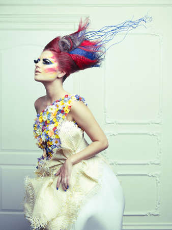 Lady with avant-garde hair and bright make-up Stock Photo - 15034110