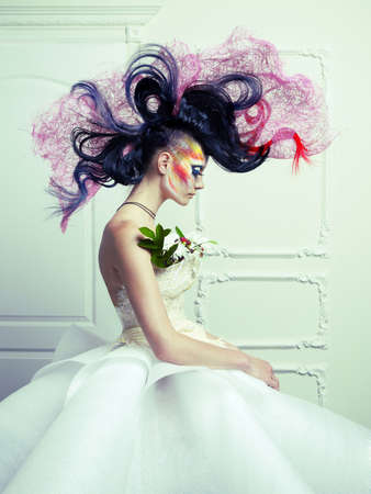Lady with avant-garde hair and bright make-up Stock Photo - 15034117