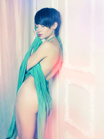 Fashion art photo of young sensual lady in classical inter Stock Photo - 15034167
