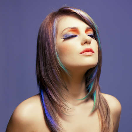 a young lady with bright makeup on bright background Stock Photo - 15264075