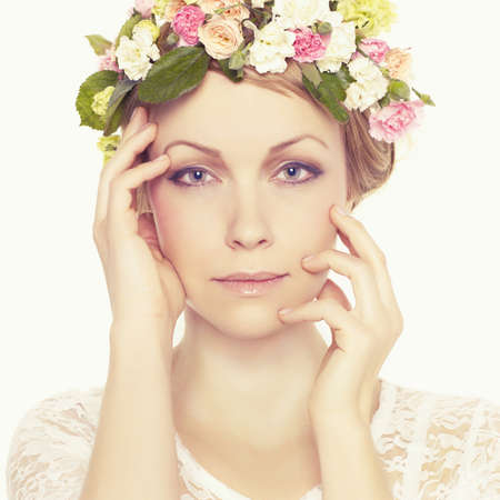light complexion: Beautiful young woman with delicate flowers in their hair