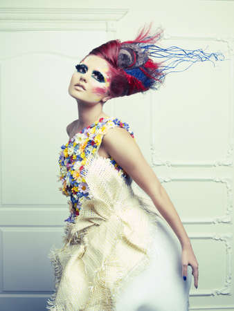 Lady with avant-garde hair and bright make-up Stock Photo - 15264066