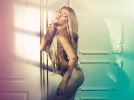 Fashion art photo of young sensual lady in classical interior Stock Photo - 16333307