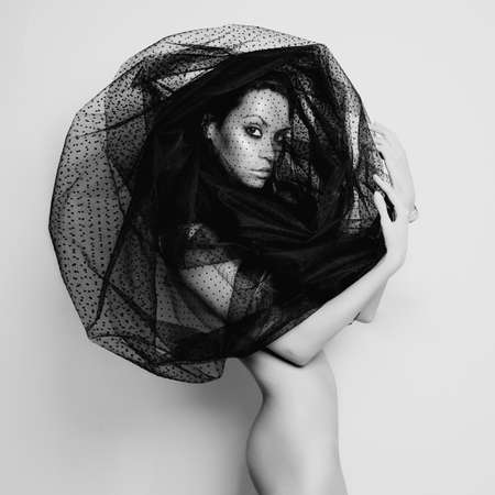 elegance fashion girls look sensuality young: Sensual beautiful woman under the black veil Stock Photo
