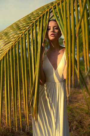 Beautiful young lady in the sunlight through the palm trees